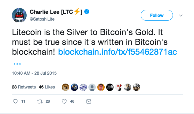 Litecoin is silver to Bitcoin's Gold