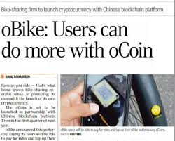 oBike partners with Tron